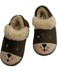 Toddler Boys Brown Puppy Dog Slippers Loafer Style House Shoes