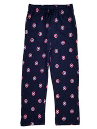 Captain America Marvel Mens Navy Blue Knit Sleep Pants Pajama Bottoms