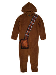 Star Wars Mens Plush Chewbacca Chewy Costume Union Suit Hooded Pajamas