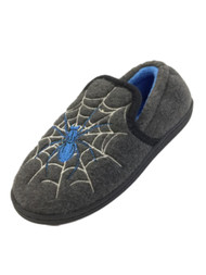 Boys Gray & Blue Glow In The Dark Spider Web Slippers Loafers House Shoes