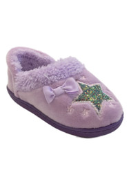 Toddler Girls Fuzzy Purple Star Slippers Loafers Glitter House Shoes