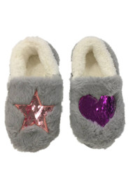 Girls Fuzzy Gray Heart & Star Slippers Sequin House Shoes Loafers