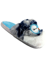 Womens Fuzzy Blue Owl Slippers Scuffs House Shoes