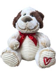 "Valentines Day Beige Puppy Dog Stuffed Animal 13"" Plush Pal"