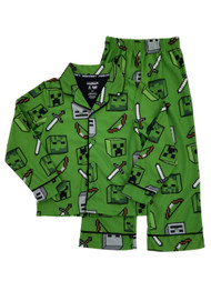 Minecraft Mojang Boys Green Flannel 2-Piece Sleepwear Pajamas Sleep Set
