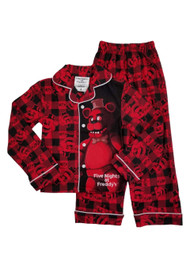 Five Nights At Freddy's Boys Red Plaid Flannel Sleepwear Pajamas Sleep Set 4