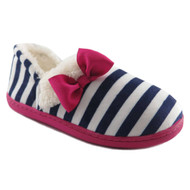 Girls Blue & White Stripe Slippers House Shoes Loafers