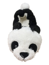 Womens Fuzzy Black & White Panda Bear Slippers Animal House Shoes