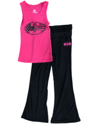 DC Comics Girls Pink & Black Batman Pajamas Batgirl Yoga Pants Sleep Set M(7-8)