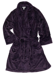 Womens Plush Super Soft Deep Purple Bathrobe House Coat Plum Bath Robe