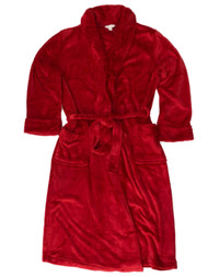 Womens Plush Red Dimpled Bathrobe House Coat Bath Robe