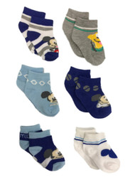 Disney 6 Pair Infant Boys Mickey Mouse & Pluto Dog Baby Socks 6-12 Months
