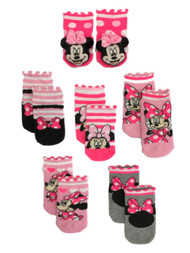 Disney 6 Pair Infant Girls Pink Minnie Mouse Baby Socks 6-12 Months