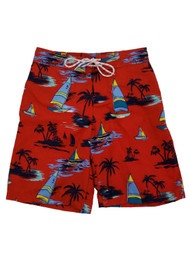 Mens Red Tropical Paradise Sailboat Hawaiian Board Shorts Swim Trunks
