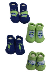Infant Boys 4 Pair Blue & Green Monster Baby Bootie Socks 0-6 Months