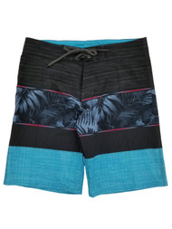 Mens Black & Blue Tropical Hawaiian Board Shorts Surf Shorts Swim Trunks