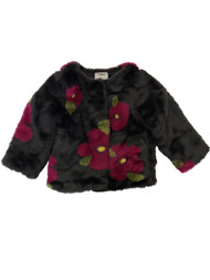 Osh Kosh Toddler Girls Black & Pink Floral Fauxfur Jacket Winter Coat