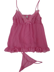 Womens Pink Opaque Fur Chemise Nightie Nightgown Night Gown Lingerie Teddy