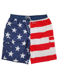 Mens American Flag USA Patriotic Cargo Swim Trunks Swim Shorts Board Shorts