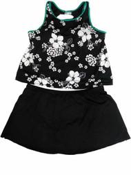 Womens Black White Hibiscus Flower 2 Piece Swimming Suit Print Tankini Set