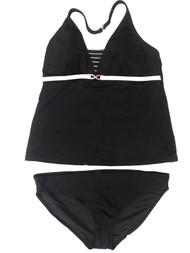 Womens Black & Cream White Stripe 2 Piece Swimming Suit Striped Tankini Set