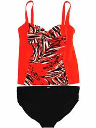 Womens Red White Black Zebra Tiger Animal 2 Piece Swimming Suit Tankini Set 16