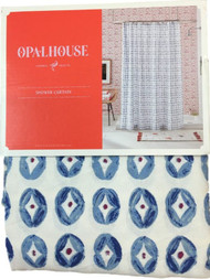 Opal House Blue Coin Medallion Fabric Shower Curtain, Bath Decor