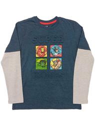 Marvel Comics Boys Blue Super Hero T-Shirt Iron Man Hulk & Thor Tee Shirt