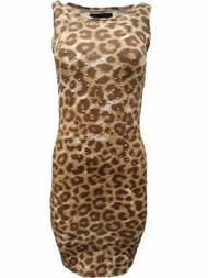Kardashian Collection Womens Leopard Cheetah Print Studded Pencil Dress
