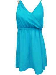 Kardashian Collection Womens Sky Blue Cross Front Sun Dress Sundress