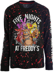 Boys Black & Red Speckle Five Nights At Freddy's Long Sleeve T-Shirt Tee XXS