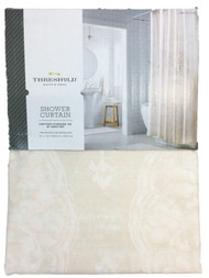 Threshold Ivory & Pink Moroccan Medallion Fabric Shower Curtain, Bath Decor