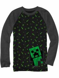 Boys Black & Gray Minecraft Long Sleeve T-Shirt Mine Craft Gamer Tee XXS 4-5