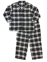 Womens Black & White Buffalo Plaid Flannel Pajamas Sleep Set