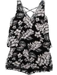 Womens Black White Hibiscus Flower Swim Suit Cover Up Romper Cover-Up Small