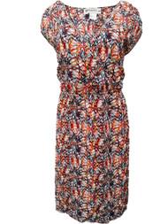Kardashian Collection Womens Yellow Blue Red Abstract  Print Sun Dress Sundress