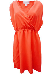 Kardashian Collection Womens Coral Pink Cross Front Sun Dress Sundress 18