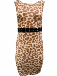 Kardashian Collection Womens Leopard Cheetah Print Pencil Dress Slim Fit Dress