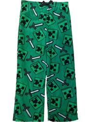 Boys Green Fleece Minecraft Pajama Bottoms Mine Craft Lounge & Sleep Pants