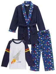 Toddler Boys Plush Blue Blast Off Bath Robe & Pajamas Sleep Set Rocket Ship