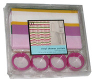 College 07 Pink Lavender Stripe Vinyl Shower Curtain & Hooks Set