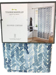 Threshold Blue Leaf Fabric Shower Curtain, Cotton Bath Decor