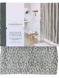 Threshold Gray Textured Dot Fabric Shower Curtain, Cotton Bath Decor