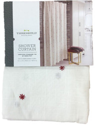Threshold Red Embroidered Stars Fabric Shower Curtain, Cotton Bath Decor