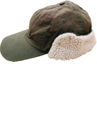 Mens Olive Green Fleece Linned Winter Baseball Style Built-In Ear Warmer Hat