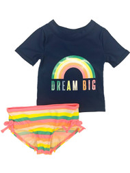 Carters Infant Girls Blue Dream Big 2 Pc Rainbow Rash Guard Swimming Suit 9m