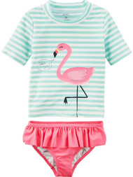 Carters Infant & Toddler Girls Green Pink Flamingo 2 Pc Rash Guard Swimming Suit