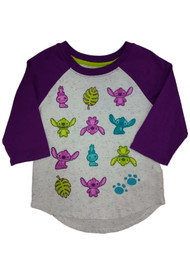 Disney Girls Lilo & Stitch T-Shirt Purple Speckle Alien Baseball Tee Shirt
