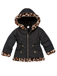 Toddler Girls Quilted Black & Leopard Print Puffer Jacket Winter Snow Coat