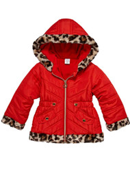 Toddler Girls Quilted Red & Leopard Print Puffer Jacket Winter Snow Coat